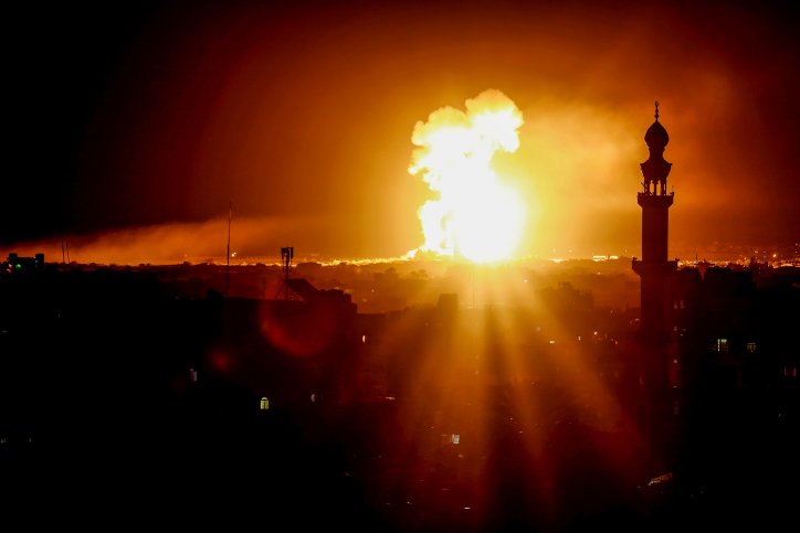 82f82c8b46885 Smoke and fire rises following an Israeli air strike in Rafah City, in the  southern Gaza Strip early on October 27, 2018. Photo by Abed Rahim  Khatib/Flash90 ...